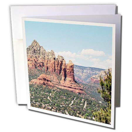 3dRose Dreamscapes by Leslie - Scenery - Overlooking Sedona AZ Mountains - 12 Greeting Cards with envelopes (gc_292191_2)