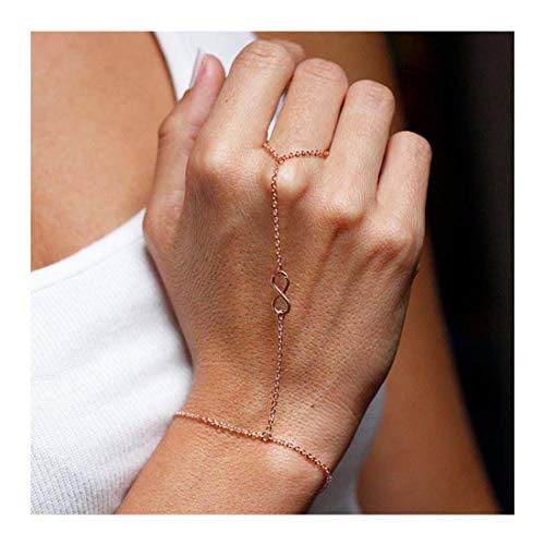 LittleB Simple Hand Chain Infinity Love Symbol Finger Ring Bracelet for Women and Girls.