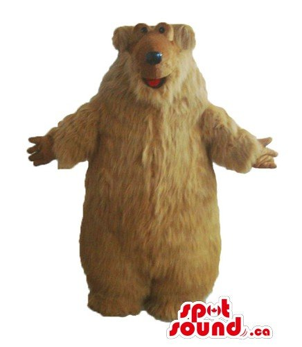 Mascots Costumes Canada (Light Brown Teddy Bear SpotSound Mascot US costume fancy dress with long hair)