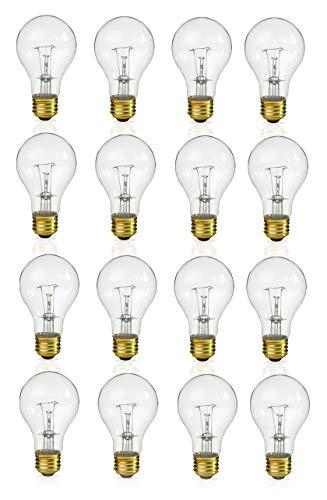 ((Pack of 16) Incandescent 60 Watt A19 Light Bulb: Clear Standard Household E26 Medium Base Rough Service Light Bulbs)