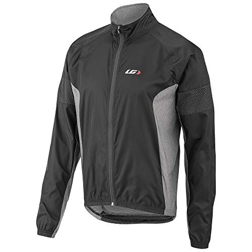 Louis Garneau Men's Modesto 3 Bike Safety Windbreaker Jacket, Black/Gray, Medium