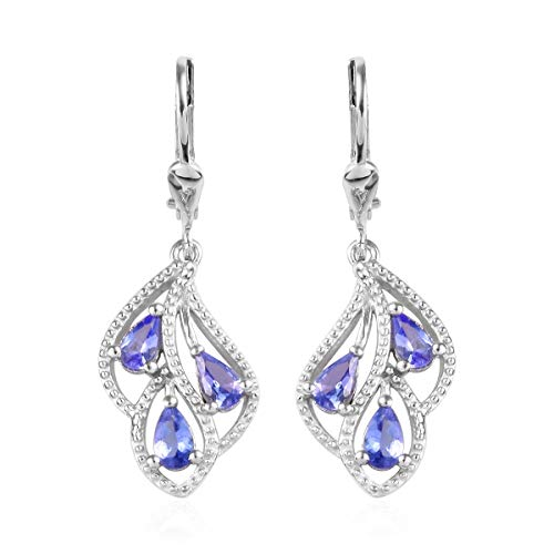 Shape Set Earrings Tanzanite - Pear Tanzanite Earrings 925 Sterling Silver Platinum Plated Jewelry for Women Ct 0.9