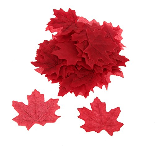 Pack of 100Pcs Artificial Fall Autumn Maple Leaf Silk Leaves Wedding Garden Decorations 7 Colors Choice - Wine (Maple Leaf Halloween Costumes)