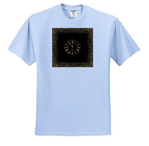 Uta Naumann Faux Glitter Pattern - Faux Gold Glitter Dust Clock On Black - T-Shirts - Light Blue Infant Lap-Shoulder Tee (6M) (TS_266822_74)
