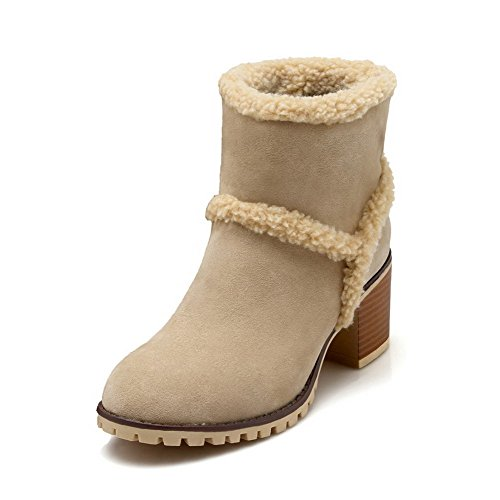 AllhqFashion Womens Pull-on Kitten-Heels Imitated Suede Solid Low-top Boots Apricot 04g4VNu3up