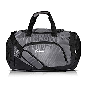 Optima Sports Duffle Bag, 31L Waterproof Gym Bag for Men and Women, Durable Travel Duffel Bag with Shoulder Strap Black/Gray
