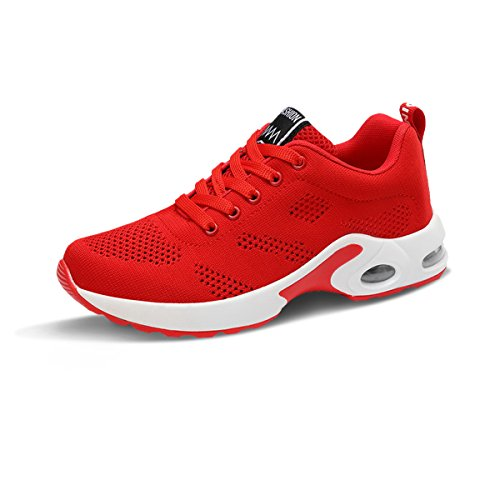 Lightweight Sports Bottom Cushion Air Thick Jogging Sneaker Shoes Red Shoes Running Eveaily Shoes Trainers Gym Womens UxAqwvqf8