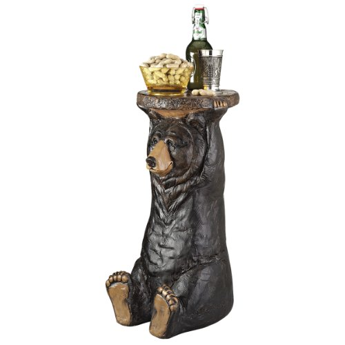 Rustic Black Bear (Design Toscano Black Forest Bear Pedestal Table Rustic Cabin Decor, 24 Inch, Polyresin, Full Color)
