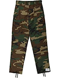Mens Woodland Camo Poly/Cotton Army Cargo Fatigues Uniform Military BDU Pants with Pin