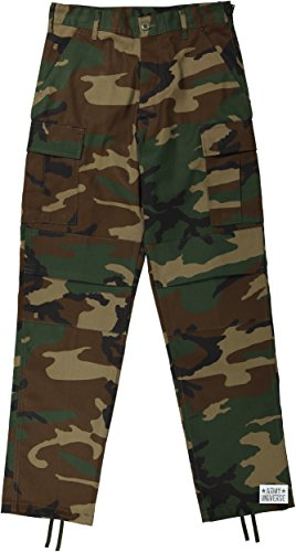 Mens Woodland Camo Poly/Cotton Army Cargo Fatigues Uniform Military BDU Pants with Pin - (W 43-47 - I 29.5-32.5) 2XL