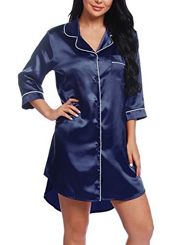 Chomoleza Womens Satin Sleepshirt Button Down Boyfriend Nightshirts Nightgown Sleepwear Navy Blue ()