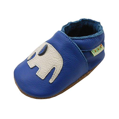 Sayoyo Soft Sole Leather Baby Shoes Baby Moccasins Elephant (Blue ,0-6 months)