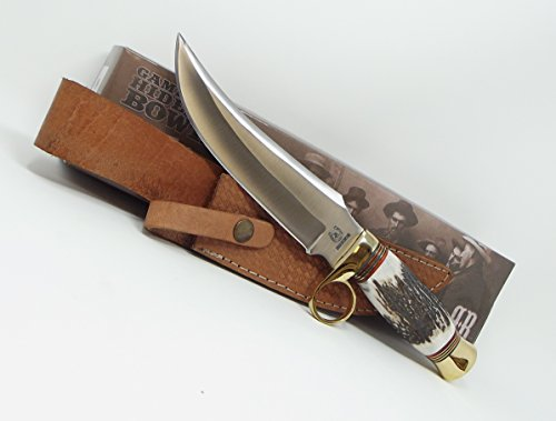 - Rough Rider Knives Smooth Bone Handle Finger Ring Gambler's Hideout Bowie Knife Leather Sheath