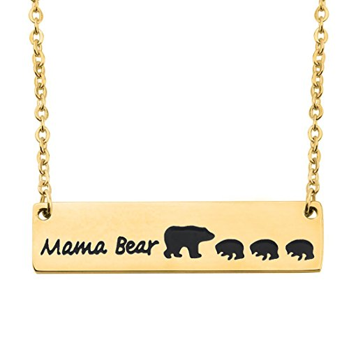 WUSUANED Gold Plated Sweet Mama and 3 Cubs Bear Bar Necklace Gift for Mom Grandma Wife (3 cubs gold)