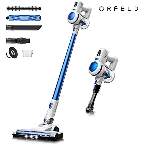 ORFELD Cordless Vacuum, Stick Vacuum Cleaner 4 in 1 with 17000 Pa Powerful Suction, Lightweight & Ultra-Quiet Handheld Vacuum for Car Pet Hair Carpet Hard Floor