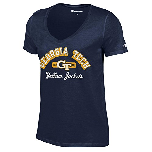 - Champion NCAA Women's University Short Sleeve Tagless V-Neck Tee Georgia Tech Yellow Jackets X-Small
