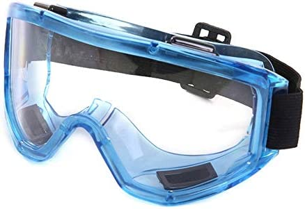 再利用可能な安全保護メガネ、防曇/耐衝撃/透明医療安全ゴーグル、ウェアラブル近視、青 (Color : 3pcs)