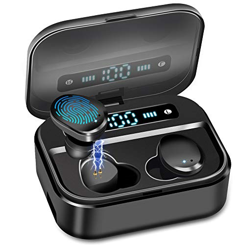 Super Audio Wireless Earbud, IPX8 Waterproof Wireless Earbud Premium Sound with Deep Bass for Sport Bluetooth 5.0 Microphone, Auto Pairing, LED Digital Shows 3500mAh Charging Case Total 135 Hours