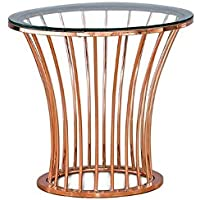 Furniture of America Depoy Round Metal End Table in Rose Gold