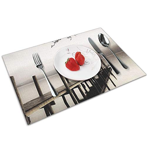 POQQ Placemats for Dining Table Derwent Water Jetty Lake District, Washable Easy to Clean PVC Placemat, Heat Resistand Kitchen Dinner Table Mats 12x18 Inches Set of 4