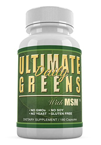 Ultimate Daily Greens MSM 1925mg 180 veg capsules Supreme Vegetable Grasses Dietary Supplement (1)