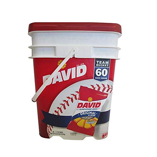 (David Sunflower Seeds Roasted & Salted Original All Natural, Team Bucket 60 Pack of 1.75 Oz Bags. (2Pack))