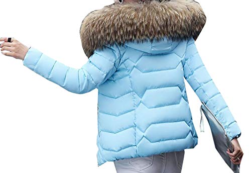 Jacket Slim Down with with Fashion 5 Parka Fit security Women's Down Puffer Fur Coat Hood EvqzO