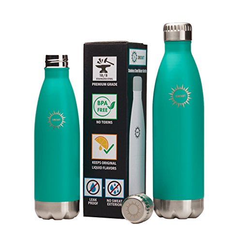Stainless Steel Vacuum Insulated Water Bottle, BPA Free Double Walled Leak Proof Thermos Flask with Copper Lining, Drinks Stay Hot & Cold