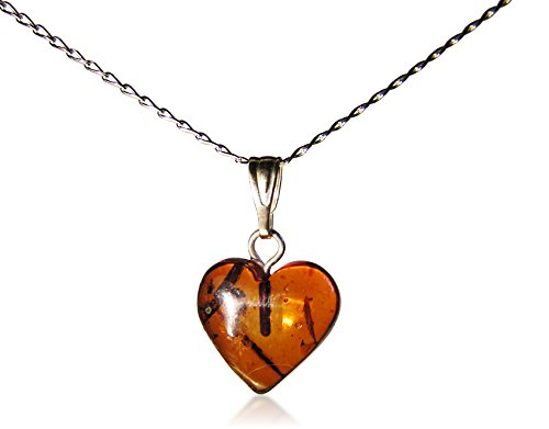 Baltic Amber Heart Necklace -Sterling Silver Chain. - LARGE HEART - A CLASSIC! - Amber Heart Pendant
