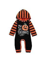 Mikrdoo Baby 1st Halloween Onesie Long Sleeve Halloween Pumpkin Bodysuit Outfit