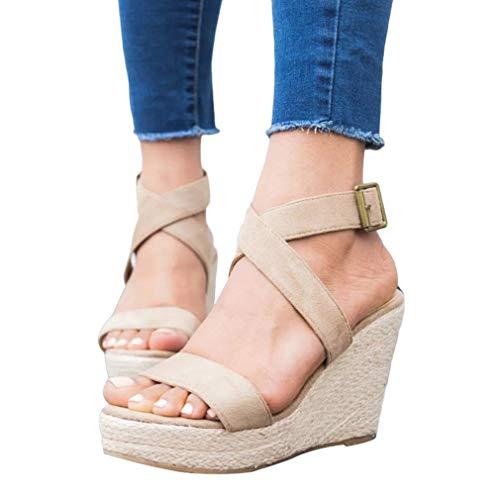 Beige Compensée Toe Tressées Plateforme Femmes Romains Juleya Peep Toit Confortable Sandales Chaussures Talons Ouvert Escarpins Plage À Boucle Pour Compensés Bout Gladiateur 3j4A5qRL