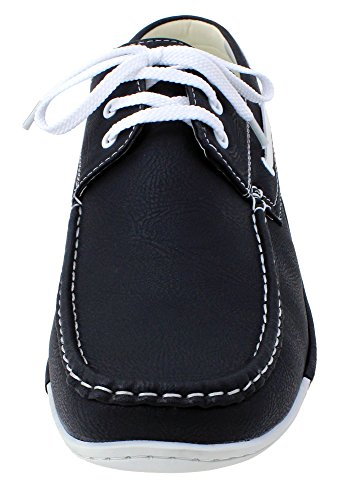 Enimay Men's Free Slip-On Loafer Boat Shoe PU Leather Fine Crafted Lounge Black White 8.5 by Enimay (Image #1)