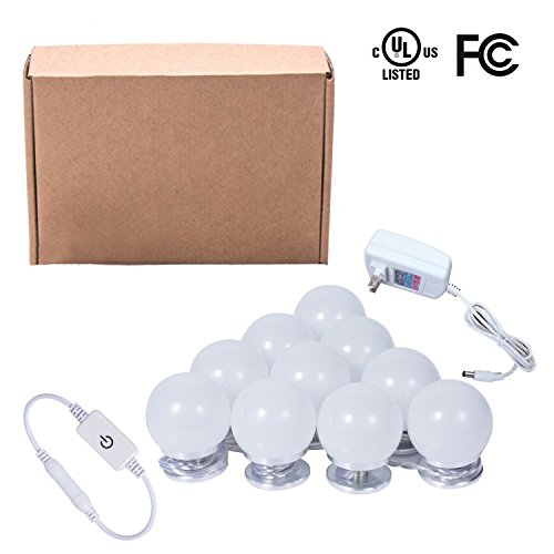 Hilai Hollywood Style LED Vanity Mirror Lights Kit 10 Dimmable Light Bulbs Makeup Vanity Dressing Table Plug in 6500K Daylight Premium Quality UL Certified (Mirror Not ()