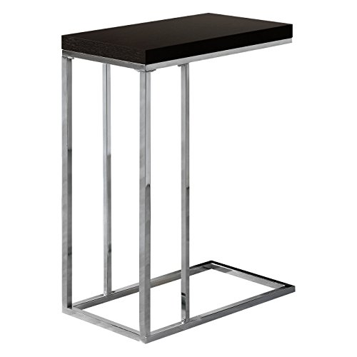 Monarch Specialties I 3007, Accent Table, Chrome Metal, Cappuccino