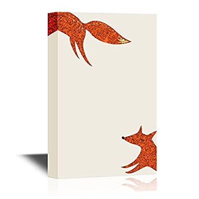 Canvas Wall Art - Minimalism Art - The Running Foxes - Gallery Wrap Modern Home Art | Ready to Hang - 12x18 inches