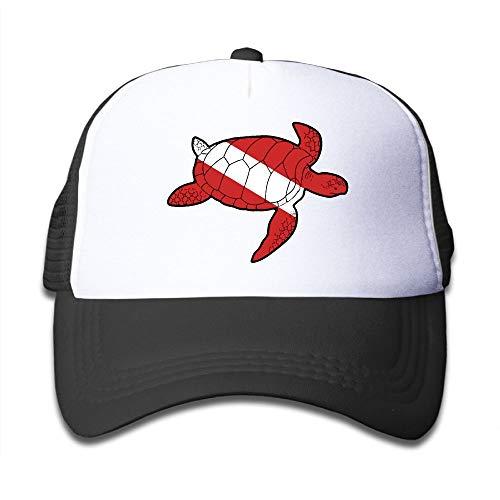 Sea Turtle Shaped Scuba Dive Flag On Kids Trucker Hat, Youth Toddler Mesh Hats Baseball Cap