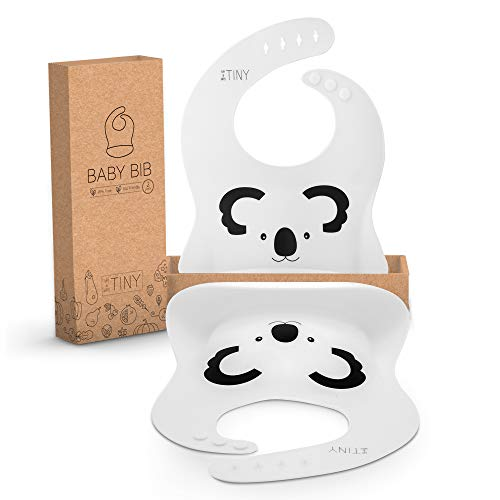 (Twins Baby Gifts Girls and Boys. Set of 2 Baby Bibs for Babies, Toddlers. Unisex Koala Bibs. Waterproof, Wipeable Silicone Baby Bib. Unique Twins Baby Gifts for Boy or Girl (White Koala&Koala))
