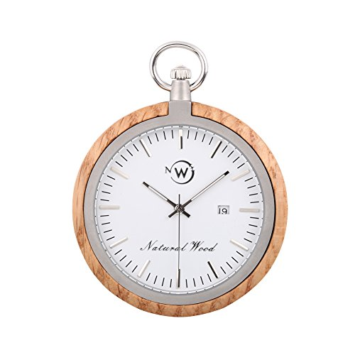 Kwock Natural Wood Pocket Watch Swiss Quartz Movement for Gentlemen(Oak)