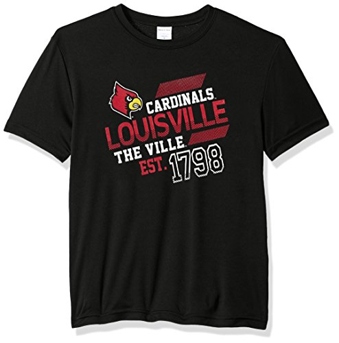- Image One NCAA Louisville Cardinals Youth Boys Offsides Short sleeve Polyester Competitor T-Shirt, Youth X-Large,Black