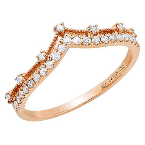 Dazzlingrock Collection 0.25 Carat (ctw) 10K Round Diamond Ladies Chevron Wedding Band 1/4 CT, Rose Gold, Size 7