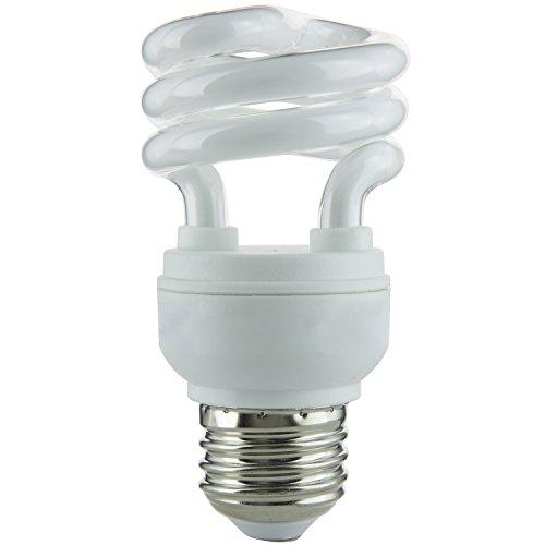 Sunlite SMS9/E/27K 9-watt T2 Super Mini Spiral CFL Light Bulb, Medium E26 Base, Warm White