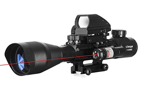 OPTISCOPE 4-12x50EG Tactical Rifle Scope and Red Dot Laser S