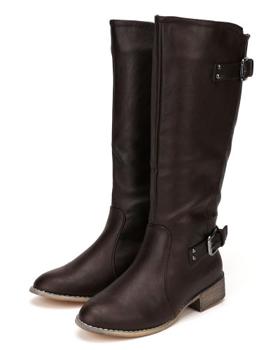 Boot Leatherette Buckle Round Nature Breeze High Women Brown AD93 Knee Toe Riding xqxgwv