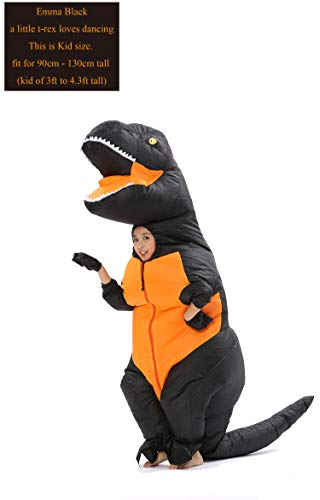 GOPRIME T Rex Costume, Dino Theme Party Dress, Dinosaur Costume (Deep Black Kid) -