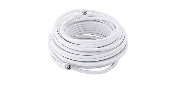 Amazon.com: eDealMax tipo F Macho a Cable tipo F Macho M/M adaptador de conector de Cable coaxial DE 59 pies 18M Blanca: Electronics