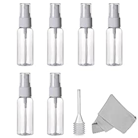 ALINK Spray Bottle, Empty Plastic Clear Small Travel Bottles with Fine Mist Sprayer for Cleaning Solutions and Essential Oils, 30 ml (1 oz.) Pack of 6 Plus Cleaning Cloth and Dropper