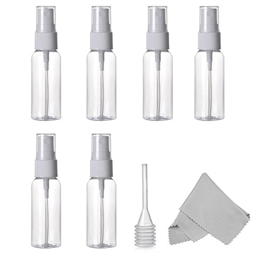 Spray Bottle, Alink 6 Pack Empty 30ml (1 oz.) Clear Plastic Fine Mist Sprayer with Microfiber Cleaning Cloth and Dropper for Cleaning, Travel, Essential Oils, Perfume