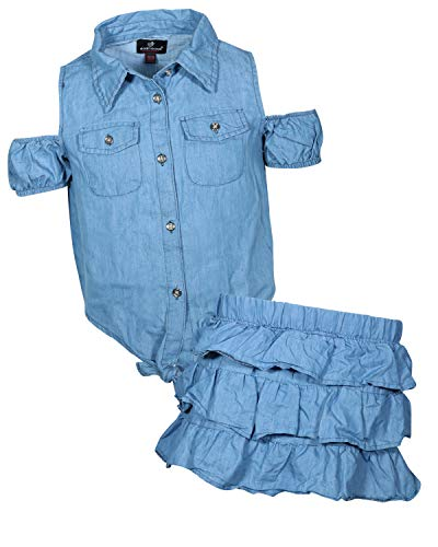 dollhouse Girls' 2 Piece Denim Short Sleeve Top and Skirt Set, Light Cold Shoulder, Size -