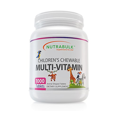 NutraBulk Children's Chewable Multi-Vitamin Tablets for Immune, Bone, and Brain Support (1000 Count)