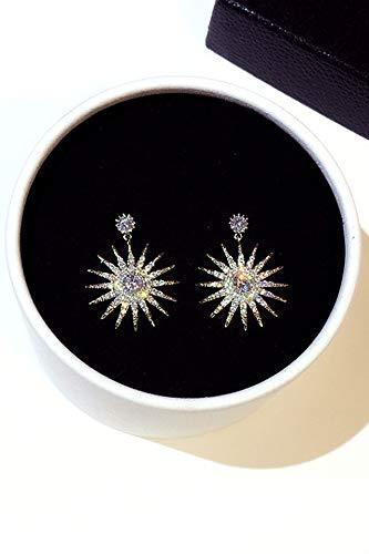 s925 Silver Needle Korea Crystal Sunflowers Diamond Earrings earings Dangler Eardrop Flash Ultra-Ultra-Luxury Trend Cents Creative Birthday Gift Sunflowers Women Girls Jewelry